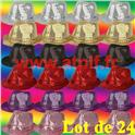 Lot de 24 Borsalino Disco Sequin Paillettes 6 coloris assortis