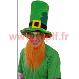 Chapeau Haut de forme St Patrick avec barbe
