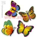 Set de 4 Papillons fluorescent 32 cm