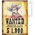Décoration Western Wanted 38x50cm