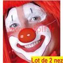 Lot de 2 Nez de Clown avec elastique (plastique)