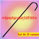 Lot de 24 Cannes de Charlot en plastique noir 80cm